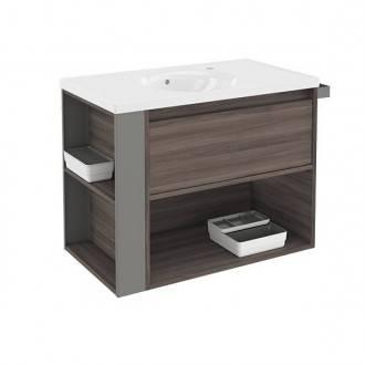 Mueble con lavabo porcelana 80cm Fresno/Gris B-Smart BATH+