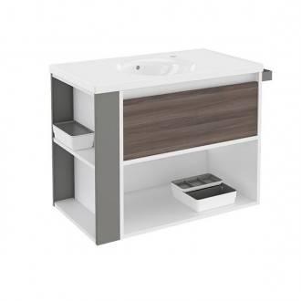 Mueble con lavabo porcelana 80cm Blanco-Fresno/Gris B-Smart BATH+