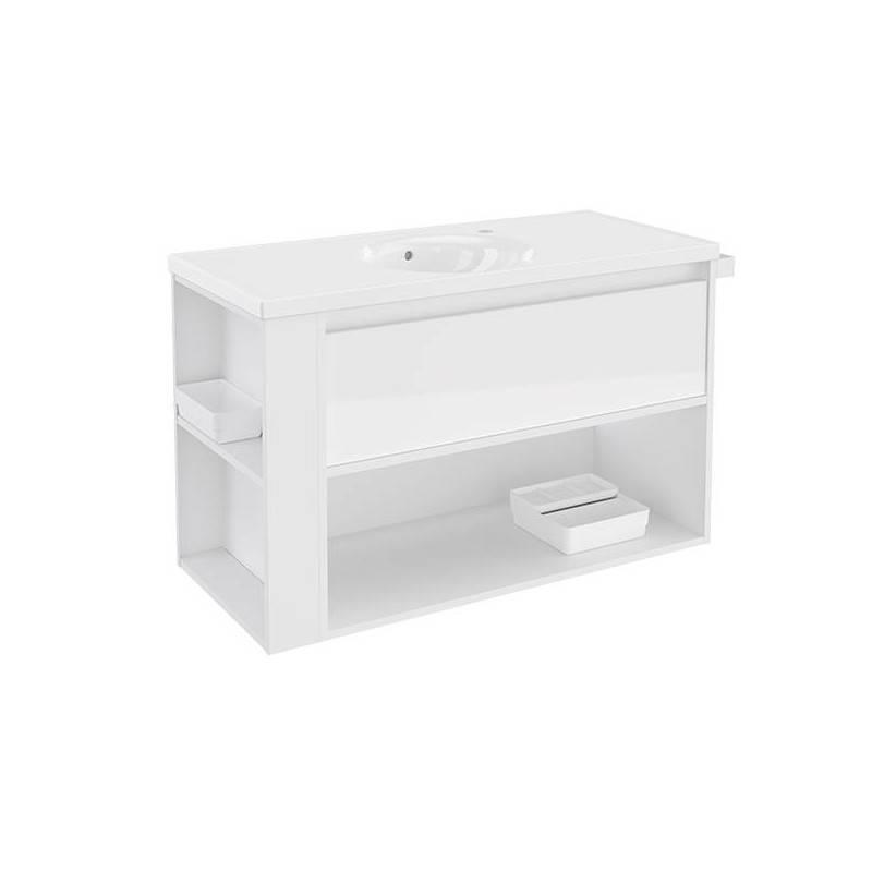 Mueble con lavabo porcelana 100cm Blanco/Blanco B-Smart BATH+
