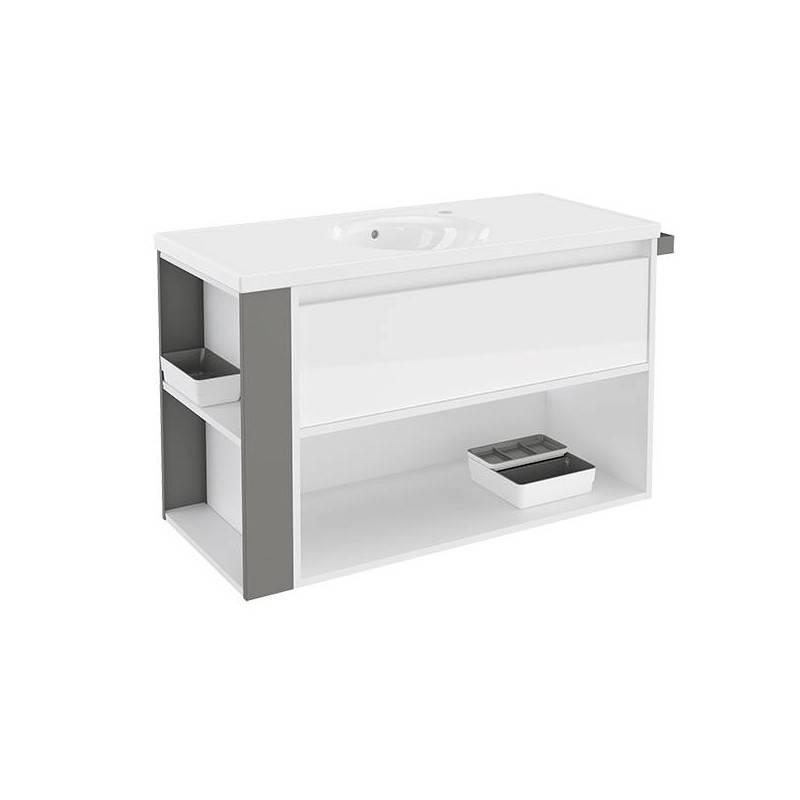 Mueble con lavabo porcelana 100cm Blanco/Gris B-Smart BATH+