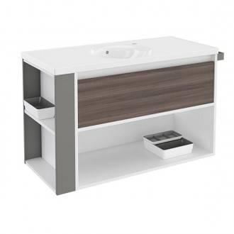 Mueble con lavabo porcelana 100cm Blanco-Fresno/Gris B-Smart BATH+