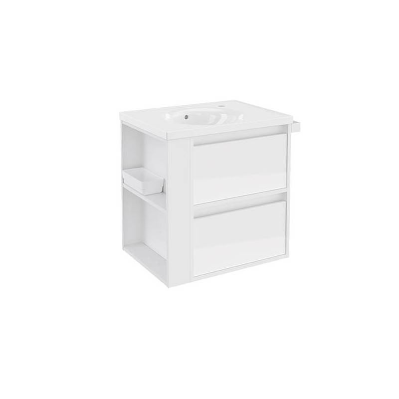Mueble con lavabo porcelana 60cm Blanco/Blanco 2 cajones B-Smart BATH+