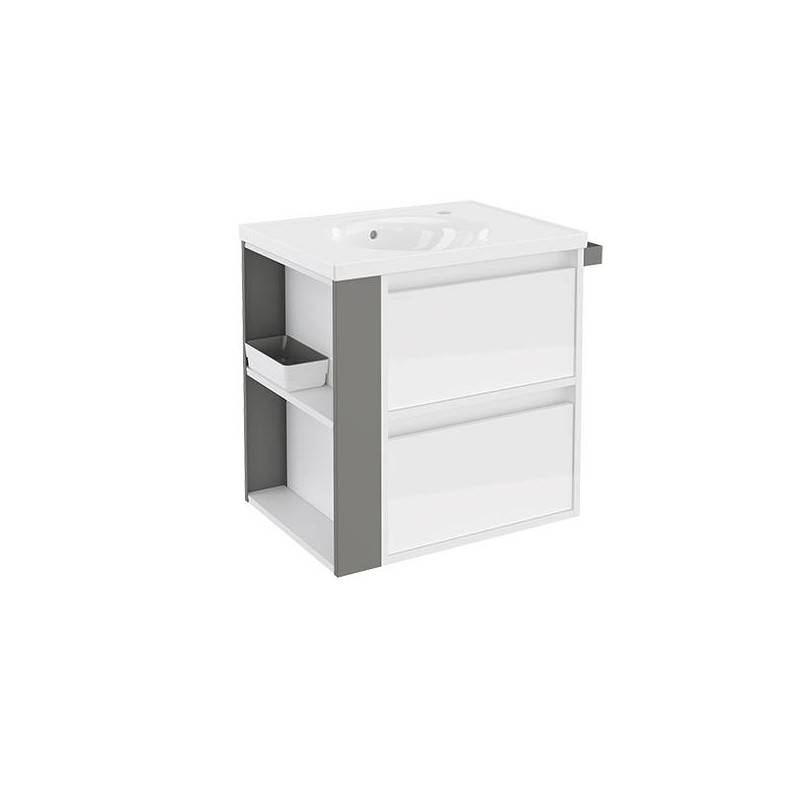 Mueble con lavabo porcelana 60cm Blanco/Gris 2 cajones B-Smart BATH+