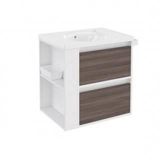Mueble con lavabo porcelana 60cm Blanco-Fresno/Blanco 2 cajones B-Smart BATH+