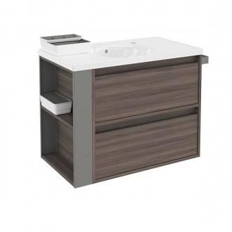 Mueble con lavabo porcelana 80cm Fresno/Gris 2 cajones B-Smart BATH+