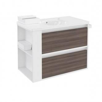 Mueble con lavabo porcelana 80cm Blanco-Fresno/Blanco 2 cajones B-Smart BATH+