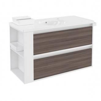 Mueble con lavabo porcelana 100cm Blanco-Fresno/Blanco 2 cajones B-Smart BATH+