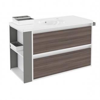 Mueble con lavabo porcelana 100cm Blanco-Fresno/Gris 2 cajones B-Smart BATH+