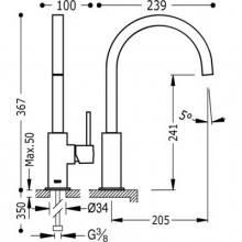 Grifo de fregadero con aireador oculto TRES CUADRO