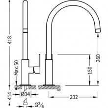 Grifo de fregadero curvado Naranja TRES LOFT-COLORS