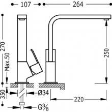 Grifo de fregadero de maneta inclinada CUADRO-TRES