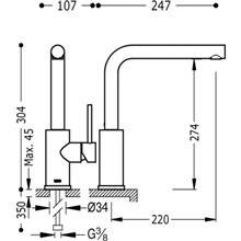 Grifo de fregadero antical MAX-TRES