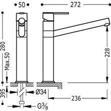 Grifo de fregadero de caño largo LEX-TRES