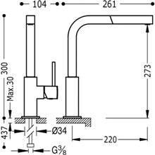 Grifo de fregadero de teleducha extraíble CUADRO-TRES