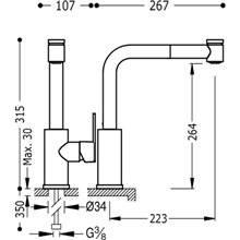 Grifo de fregadero extraíble de 2 funciones LEX-TRES