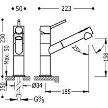 Grifo de fregadero extraíble de 2 funciones TRES