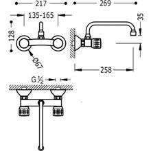 Grifería fregadero de pared 26 cm ESE-TRES