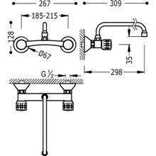 Grifería fregadero de pared Ex Special 26 cm ESE-TRES