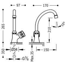 Grifo de fregadero 1 agua ESE-TRES