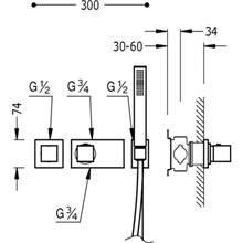Conjunto de ducha termostático 1 vía TRES C