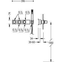 Conjunto de ducha termostático 3 vías TRES C