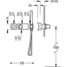 Conjunto de ducha termostático 1 vía TRES R