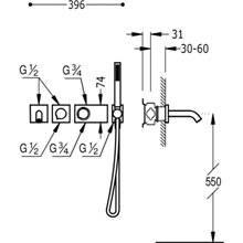 Kit de bañera termostático TRES R