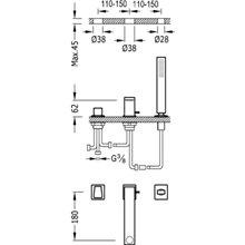 Combinación para bañera CUB TRES SLIM 18cm