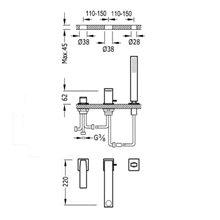 Combinación para bañera Acero TRES SLIM 22cm
