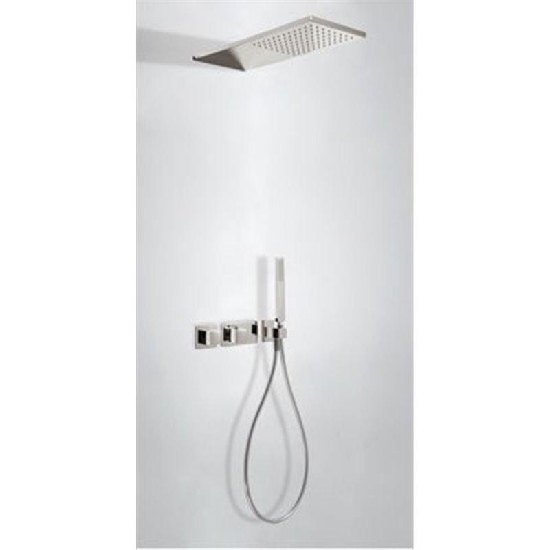 Kit de ducha termostático 2 vías Acero TRES SLIM