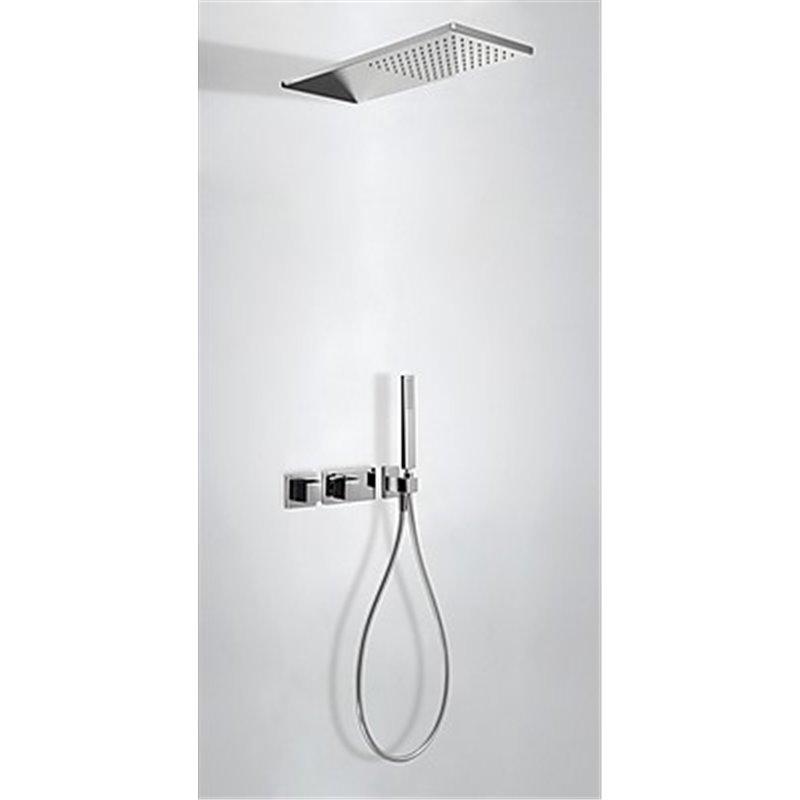 Kit de ducha termostático 2 vías Negro TRES SLIM