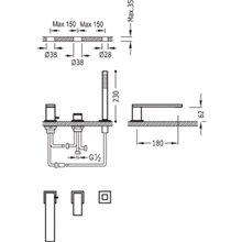 Combinación para bañera Acero TRES CUADRO 18cm