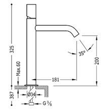 Grifo de lavabo Acero M TUB TRES STUDY