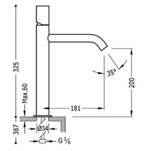 Grifo de lavabo Negro M TUB STUDY TRES