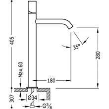 Grifo de lavabo Acero L TUB TRES STUDY