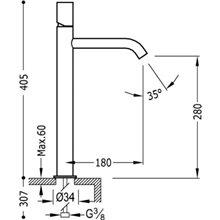 Grifo de lavabo Negro L TUB TRES STUDY