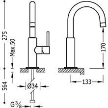 Grifo de lavabo Fucsia en C TRES STUDY M