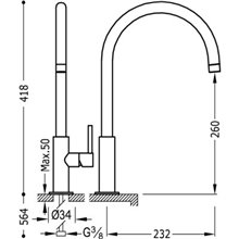 Grifo de lavabo Negro en C STUDY XL TRES