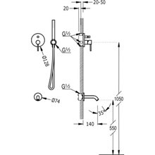 Conjunto de ducha Naranja 2 vías TRES STUDY