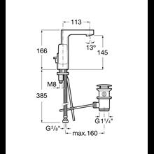 Grifo de lavabo maneta lateral integrada L90 Roca