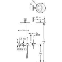 Kit de ducha termostático Negro de 2 vías TRES STUDY