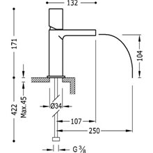 Grifo de lavabo Fucsia de Cascada TRES TUB LOFT