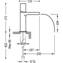 Grifo de lavabo Negro de Cascada TUB LOFT TRES