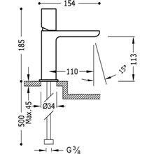Grifo de lavabo Acero S TUB TRES LOFT