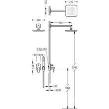 Conjunto de ducha Negro de 2 vías TRES LOFT