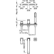 Combinación para bañera Acero TRES LOFT 18cm