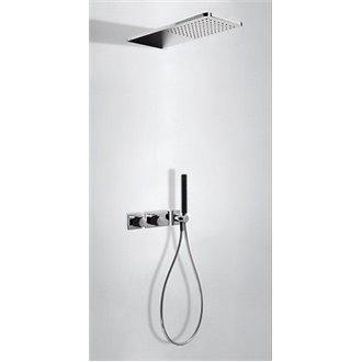 Kit de ducha termostático 2 vías Cr/Ne TRES LOFT