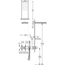 Kit de ducha termostático 2 vías Cr/Bl TRES LOFT