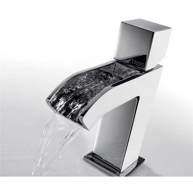 Grifo de lavabo cascada libre cub cuadro tres materiales - Grifos lavabo baratos ...