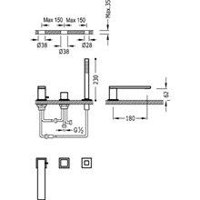 Combinación para bañera CUB CUADRO-TRES 18cm